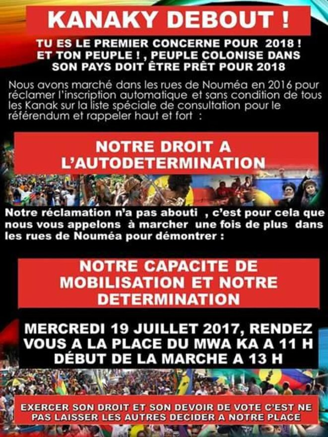 L'affiche d'appel à manifester à Nouméa.