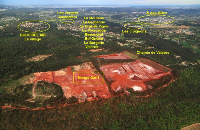 Villages et zones d'habitation autour du site de stockage