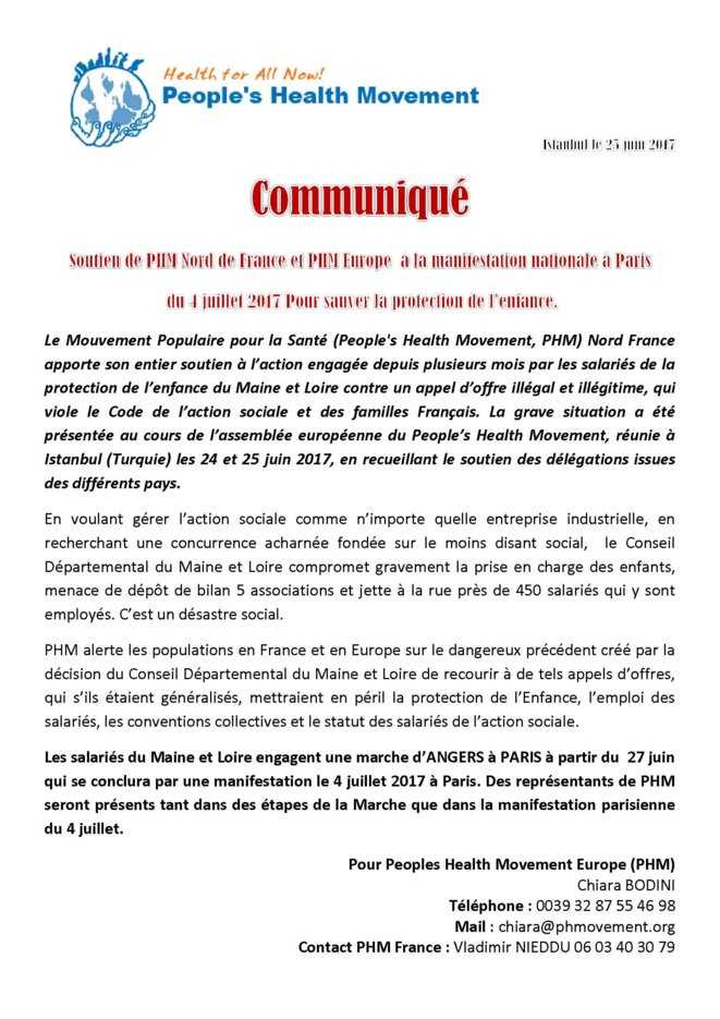 PHM France soutien l'action des victimes de l'appel d'offre illégal conduit par le département du maine et loire et soutient l'action en justice engagée par SUD santé sociaux