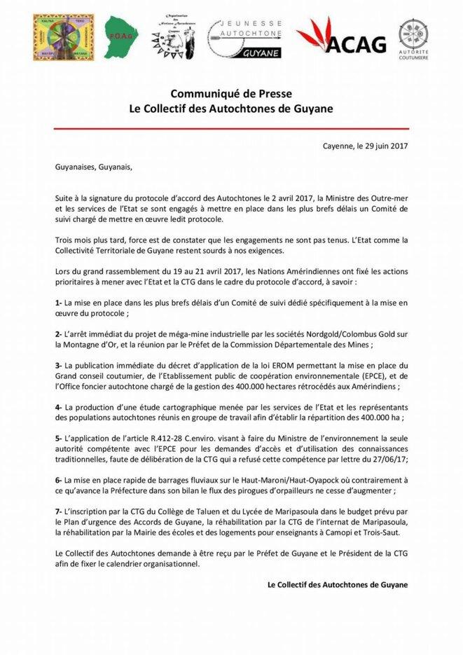 Communiqué de presse du Collectif ded Autochtones de Guyane. 29/06/2017