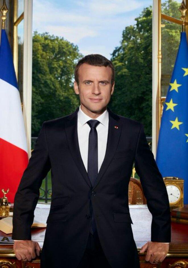 Emmanuel Macron posant en Président de la République Française  Palais de l'Élysée, le 29 juin 2017