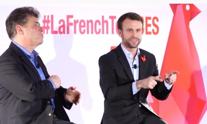 """Emmanuel Macron lors de la soirée """"French Tech Night"""" à Las Vegas © DR"""