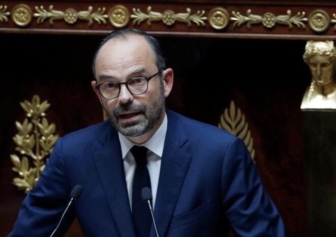 Edouard Philippe, lors de son discours de politique générale à l'assemblée nationale, le 4 juillet 2007. © Reuters