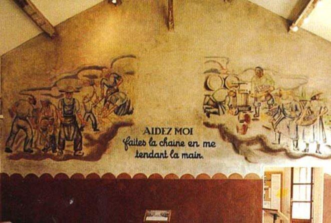 Fresque peinte au camp des Milles par les prisonniers