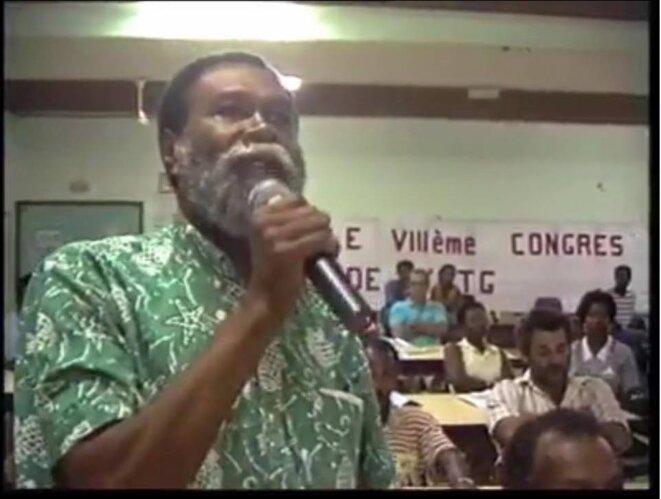 Élie Brême au Congrès de l'Union des Travailleurs Guyanais.