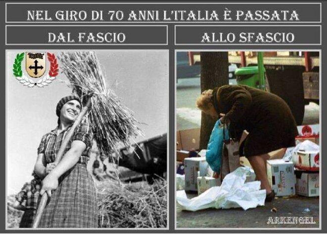 """"""" En 70 ans l'Italie est passée du fascio à la pagaille """""""