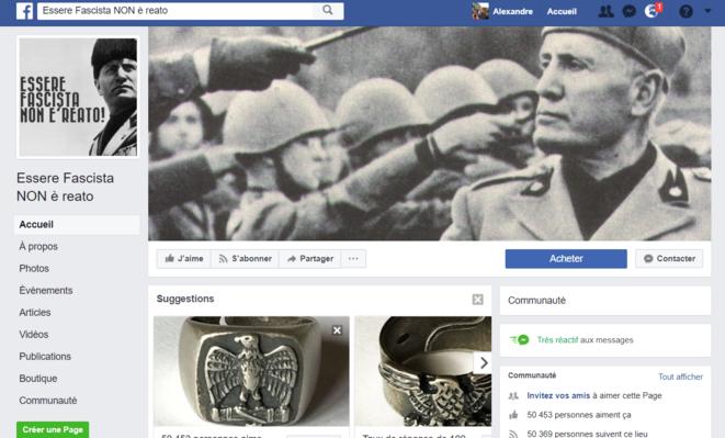 """La page  """" Être fasciste n'est pas un crime """""""