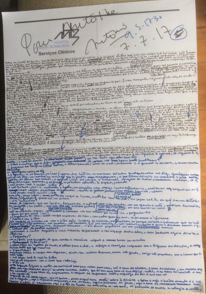Page manuscrite offerte au journaliste de Mediapart (voir plus distinctement sous l'onglet « Prolonger »)