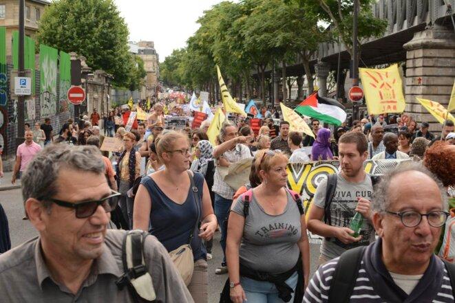 Manifestation du 14 Juillet contre la présence de Trump et les mesures de Macron