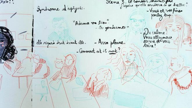 Les élèves sont concentrés. Ils et elles lisent, à voix haute, les premières lignes de la pièce. © Zède