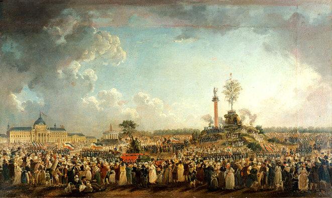 Fête de l'Être suprême au Champ de Mars, le 20 prairial an (8 juin 1794) Pierre Antoi  Antoine Demachy, 1794, Musée Carnavalet, Paris