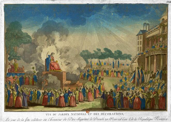 Vue du Jardin National (aux Tuileries) et des Décorations le jour de la fête célébrée en l'honneur de L'être Suprême, Estampe, Jacques Simon Chéreau, 1794, Musée Carnavalet, Paris