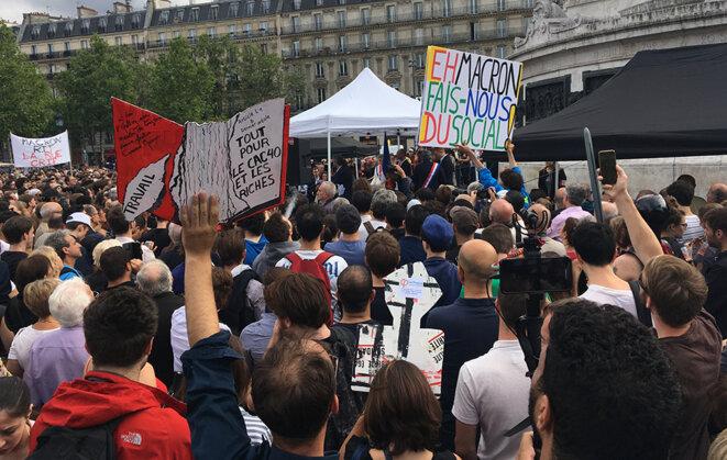 Rassemblement insoumis le 12 juillet à Paris, place de la République © CG
