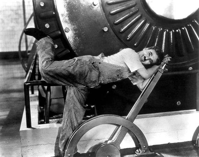 """Une scène des """"Temps modernes"""" (1936), de Charlie Chaplin"""