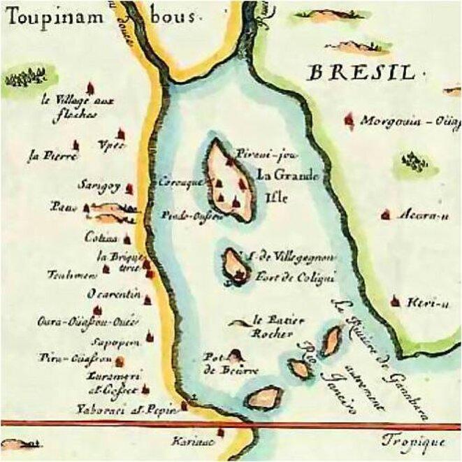 France antarctique, carte française de 1555. Certains toponymes sont en langue tupi