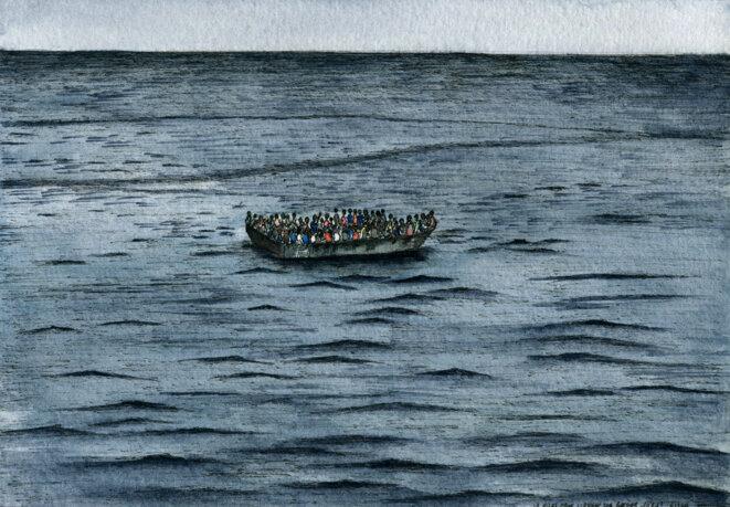 La traversée sur des bateaux type zodiac, surchargés, dure en moyenne une dizaine d'heures, selon les témoignages de migrants © Elisa Perrigueur