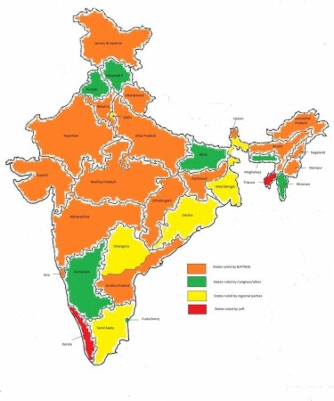 Orange safran : BJP / Jaune : partis régionaux / Vert : Congrès / Rouge : communistes © DR