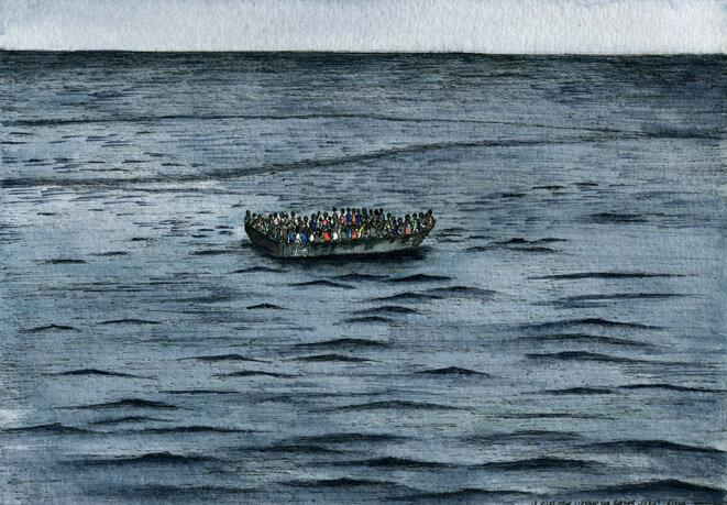 La travesía en embarcaciones tipo Zodiac, sobrecargadas, dura cerca de diez horas, según los testimonios de los migrantes entrevistados en junio, salvados por el barco Frontex Río Segura. © Elisa Perrigueur