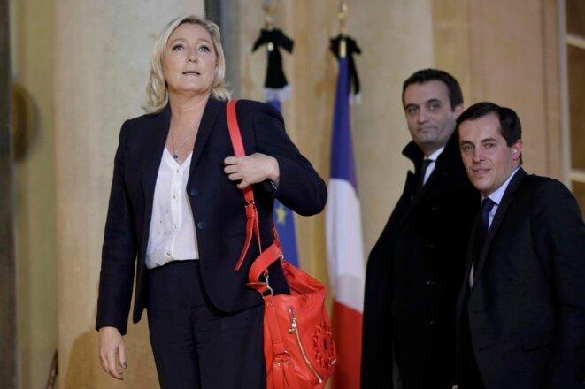 Marine Le Pen, Florian Philippot et Nicolas Bay © Philippe Wojazer / Reuters