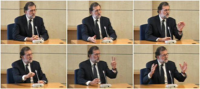 Varios momentos del presidente del Gobierno, Mariano Rajoy, durante su declaración como testigo en el 'caso Gürtel'. © infoLibre