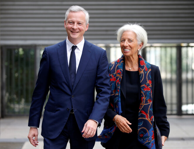France's economy minister, Bruno Le Maire, with Christine Lagarde, managing director of the IMF. © Reuters