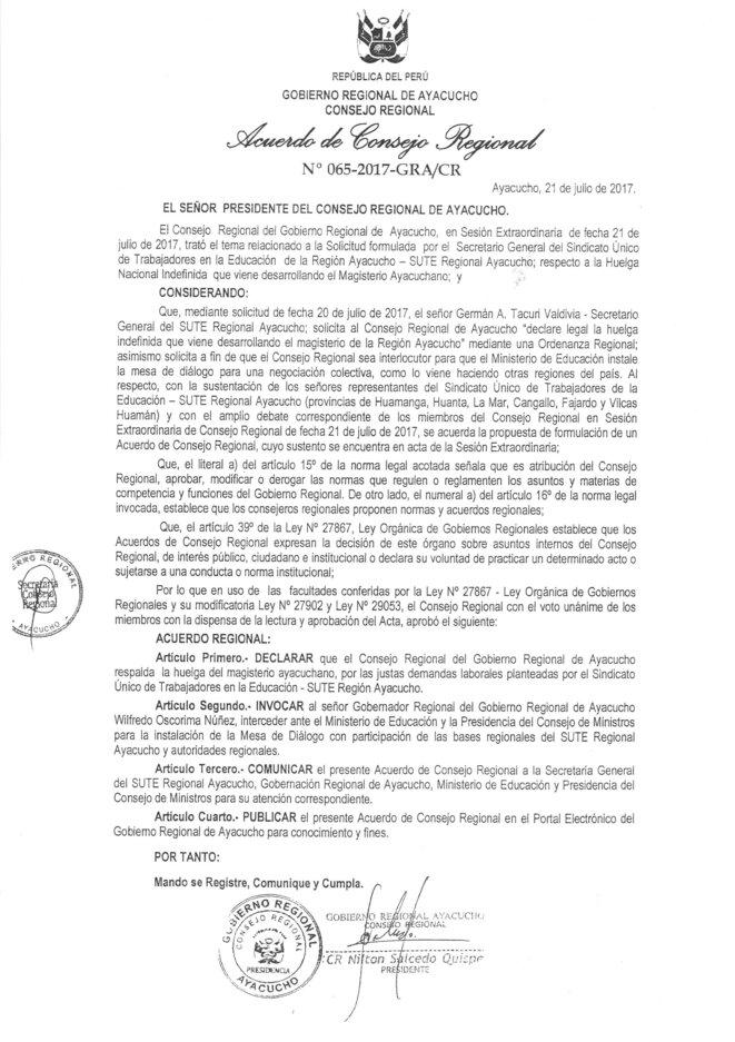 Acuerdo de Consejo Regional 21-07-2017