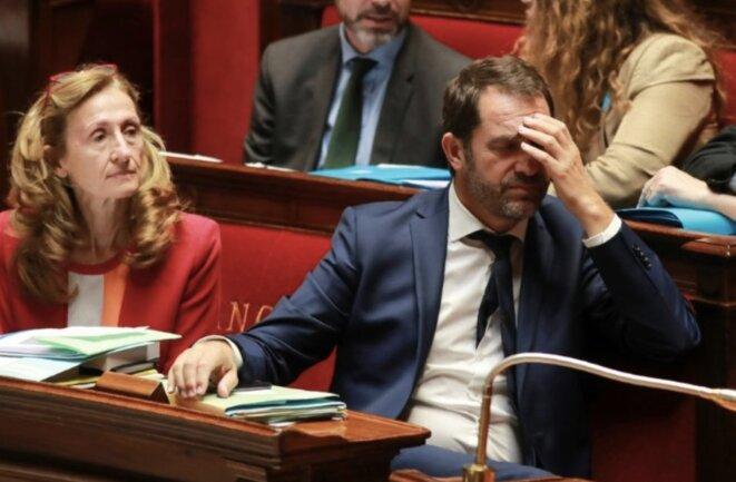 La ministre de la justice, Nicole Belloubet, et le secrétaire d'État chargé des relations avec le Parlement, Christophe Castaner, vendredi 28 juillet à l'Assemblée © DR