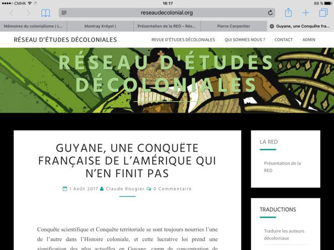 Capture d'écran du site de la revue du Réseau d'Études Décoloniales (RED)