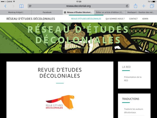 Capture d'écran du site de la revue du Réseau d'Études Décoloniales (RED) 1/2