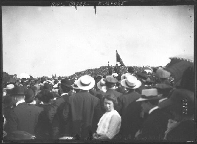 Manifestation au Pré Saint Gervais contre la loi des trois ans (25 mai 1913) - discours de Jean Jaurès.