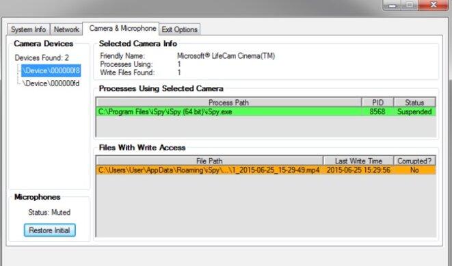 L'onglet du logiciel Dumbo permettant de désactiver caméras et micros.