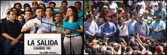 A gauche: Leopoldo Lopez et Maria Corina Machado annonce leur plan La Salida le 23 janvier 2014 | A droite: Lopez, Machado et Ledezma prononce leurs discours qui vont lancer les guarimbas le 12 février