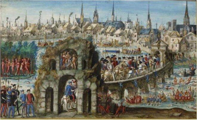 Entrée d'Henri II à Rouen en 1550 (bibliothèque de Rouen, estampe anonyme)