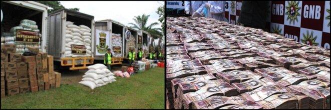 A gauche: En août 2015, 56 tonnes d'aliments sont saisies par l'armée à la frontière colombienne | A droite: En décembre 2016, 138 millions de bolivars sont interceptés à cette même frontière