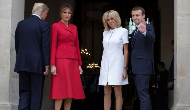 Left to right: US President Donald Trump and his wife Melania, Brigitte and Emmanuel Macron at the Invalides building in Paris, July 13th. © Reuters