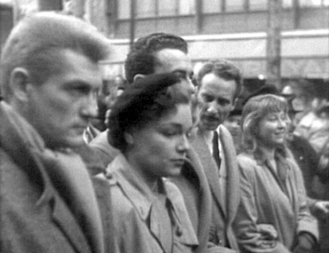 La CGT est très implantée dans le milieu du cinéma. Jean Marais, Simone Signoret et Jacques Becker lors d'une manifestation pour la défense du cinéma français face à la concurrence Hollywoodienne (1948)