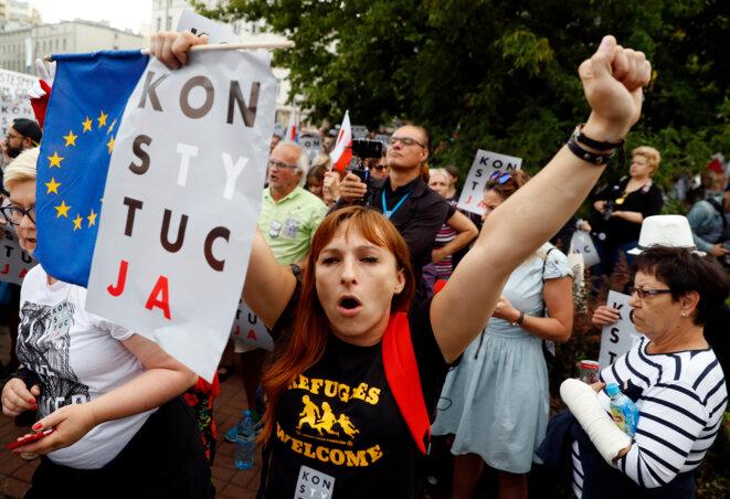 Manifestation contre les réformes judiciaires à Varsovie, le 26 juillet 2017 © Reuters