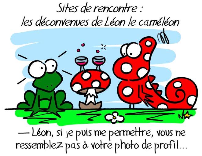 Trois dés pour un dessin (n°3): Léon le caméléon et les sites de rencontre © Norb