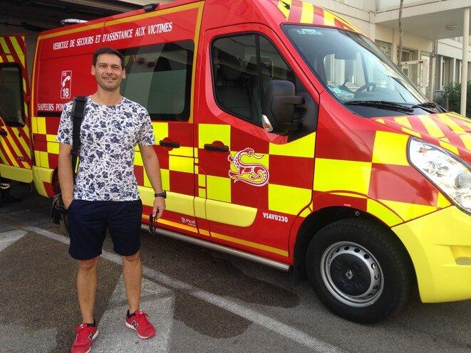 Sébastien Jansem, a Toulon-based fireman and representative of an independent firemen's union. © Elsa Sabado