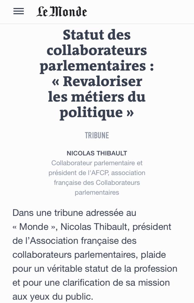 Tribune dans Le Monde du 29 mars 2017 © Nicolas Thibault / le monde.fr
