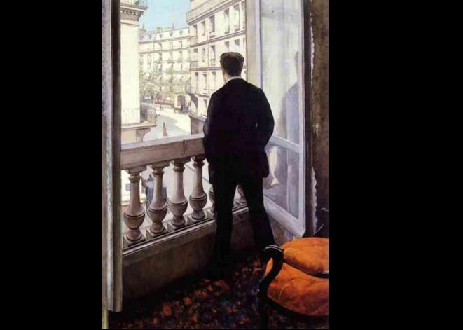 Jeune homme au balcon © Gustave Caillebotte