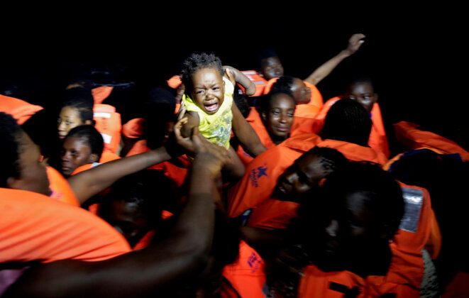 Migrants rescued from the Mediterranean Sea on October 20th 2016. © Reuters