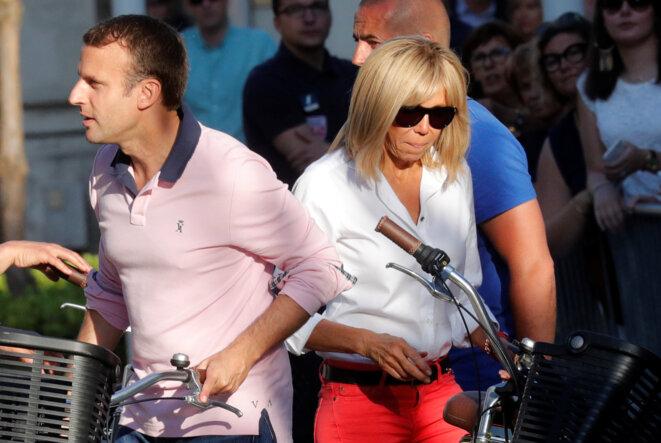 Emmanuel et Brigitte Macron, le 17 juin 2017, au Touquet. © Reuters