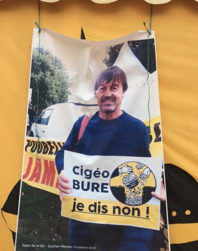 Photo de Nicolas Hulot en 2016 contre Cigéo