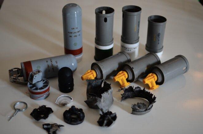 Munitions utilisées par les gendarmes le 15 août à Bure, retrouvées par des manifestants.