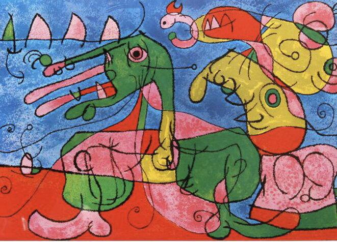 En Marche,  Le Père Ubu et la Mère Ubu, Joan Miró, lithogra-  phie, planche VIII extraite de Suites pour Ubu Roi, Ed. Tériade, 1966.