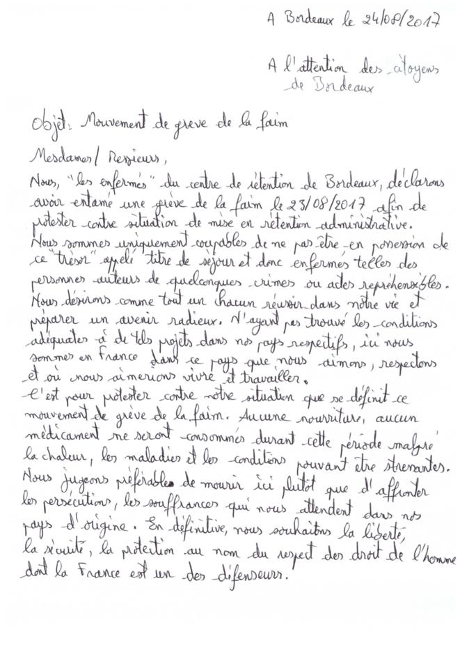 20170825 courrier des personnes enfermées au CRA de Bordeaux © Ces personnes libres enfermées administrativement