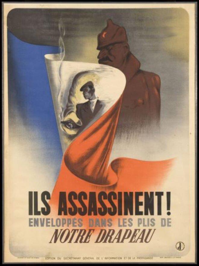 """Affiche de propagande visant à """"criminaliser"""" les actes de résistance à l'occupant durant la 2e guerre mondiale"""