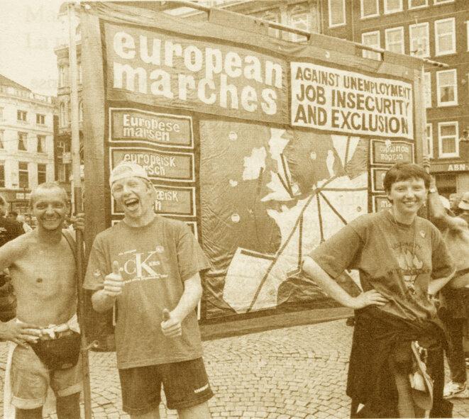 Lors de la Marche européenne contre le chômage et la précarité de 1997 © Alain Dodeler/Canal Marches