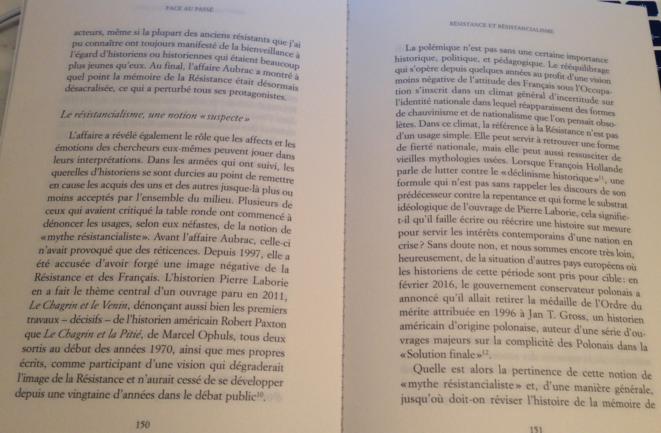 """Une double page du dernier ouvrage d'Henry Rousso, """"Face au passé"""""""